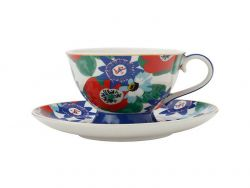 Teas & C's Glastonbury Footed Cup & Saucer 200ML Passion vine White
